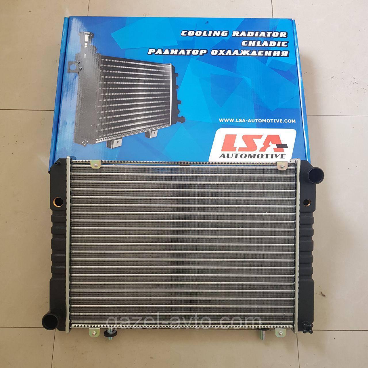Радиатор водяного охлаждения Газель Соболь Рута Бизнес на штырях нового образца 3 рядный алюминий (пр-во LSA)