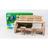 Мебель для куклы - кухня деревянная в коробке  ИНДИГО