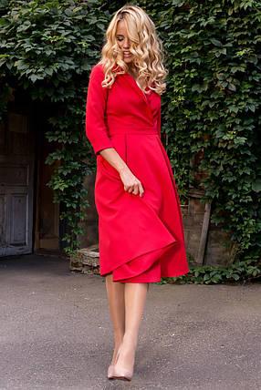 Стильное  платье до колен  юбка со складками цвет малиновый, фото 2
