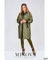 Куртка женская длинная №1859 Хаки с 42 по 46 размер(минов)