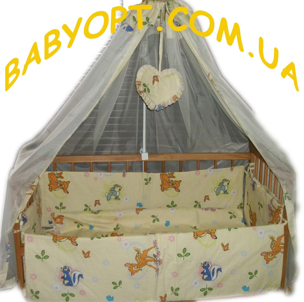 Постельное бельё в детскую кроватку Бэмби бежевое 8 эл.
