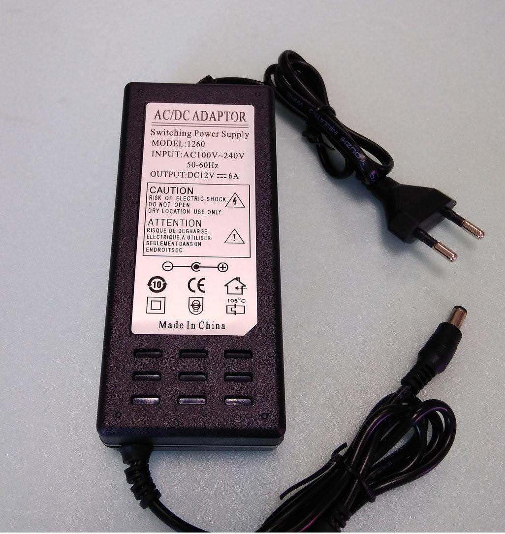 Блок живлення для світлодіодної стрічки 12V 60Вт (5А). Venom