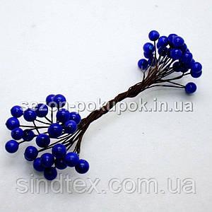 Калина лаковая D-8мм, 50 шт цвет - синий (электрик) (25 двухсторонних проволочек)