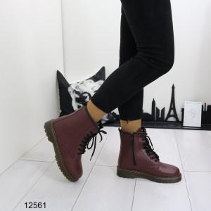 Ботинки бордо эко-кожа деми на низком ходу на осень внутри флис