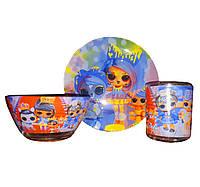 Детская посуда ЛОЛ с питомцем / Детский набор посуды / Стеклянная посуда