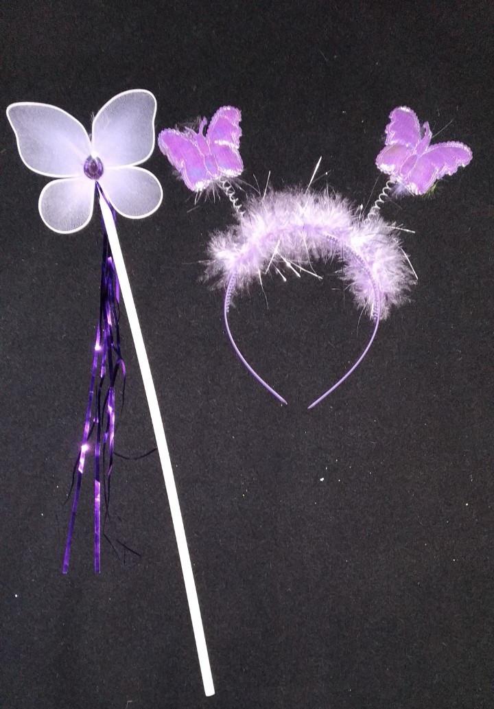Набор Бабочка/Фея (обруч с антенками, волшебная палочка) фиолетовый