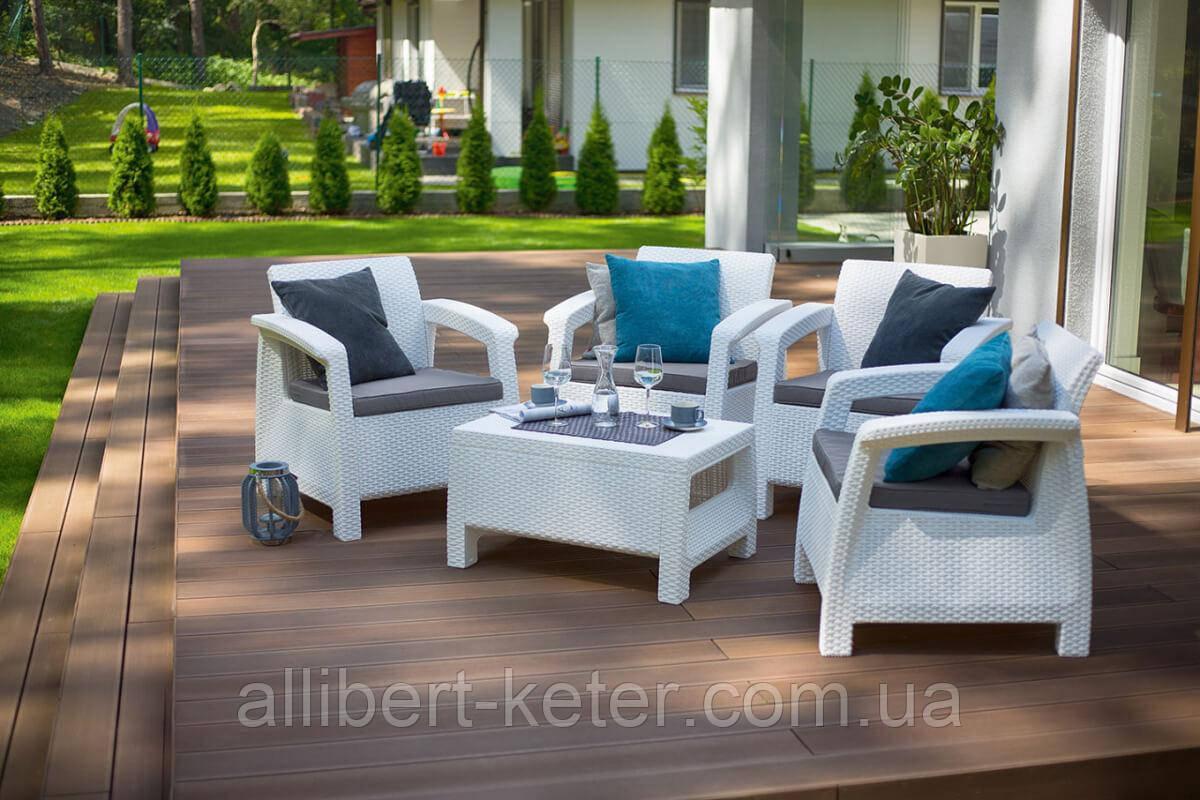 Набор садовой мебели Corfu Quattro Set White ( белый ) из искусственного ротанга