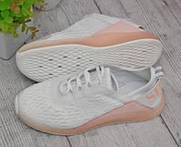 Женские летние кроссовки сетка персиковые с белым, фото 1