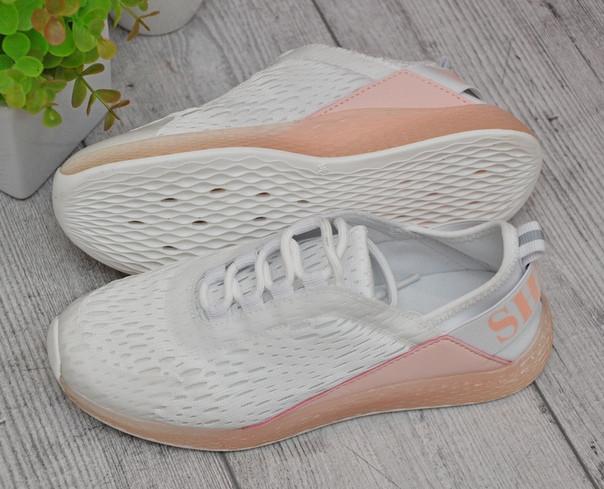 Женские летние кроссовки сетка персиковые с белым