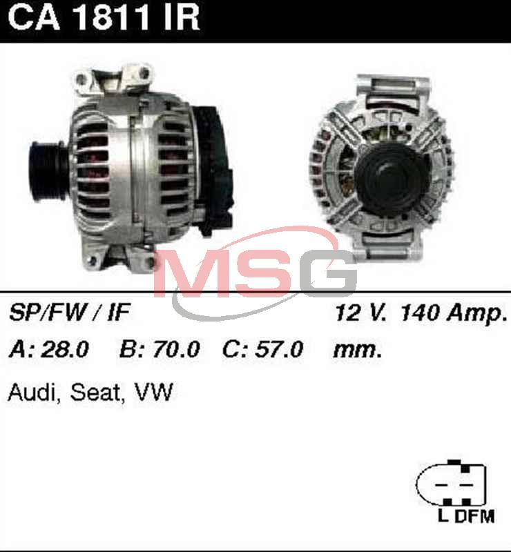 Генератор Audi A4 1.8-2.0 2001- 140A