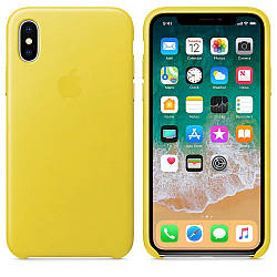 Кожаный чехол Apple Leather Case Spring Yellow  для iPhone Xs Max  (high copy)