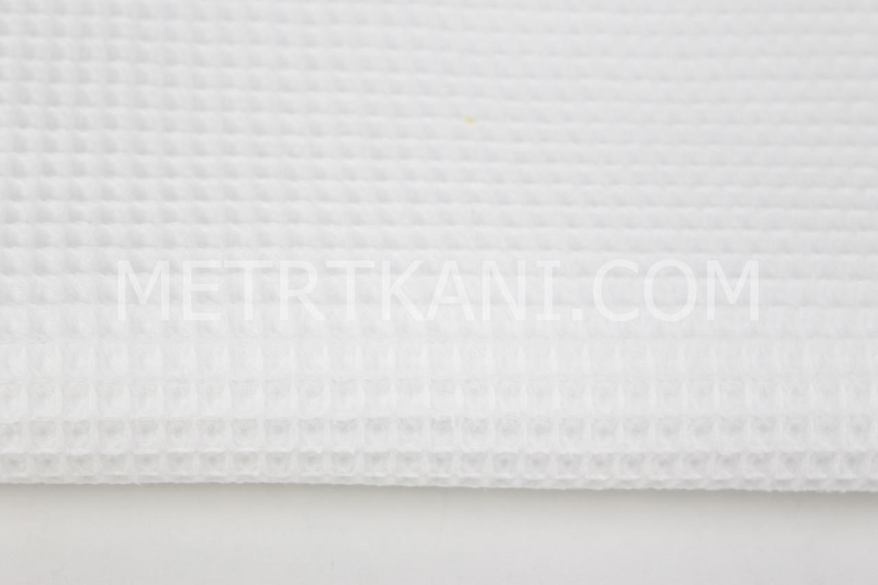 Ткань вафельная белого цвета № ТФ-010