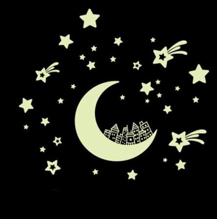 """Светящаяся наклейка """"Луна со звездами"""" - размер наклейки 21*25см, (впитывают свет и светятся в темноте)"""