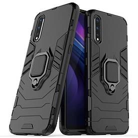 Чехол накладка для Vivo IQOO Neo противоударный силикон и пластик, Robot case, черный