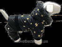 Зимний комбинезон для собак, черный со звездами DogsBomba