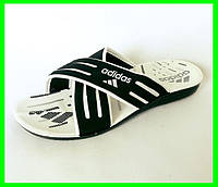 Мужские Шлёпанцы Тапочки ADIDAS Сланцы Black - White (размеры: 40,41)