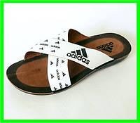 Мужские Шлёпанцы Тапочки ADIDAS Сланцы White - Black ( размеры: 40 )