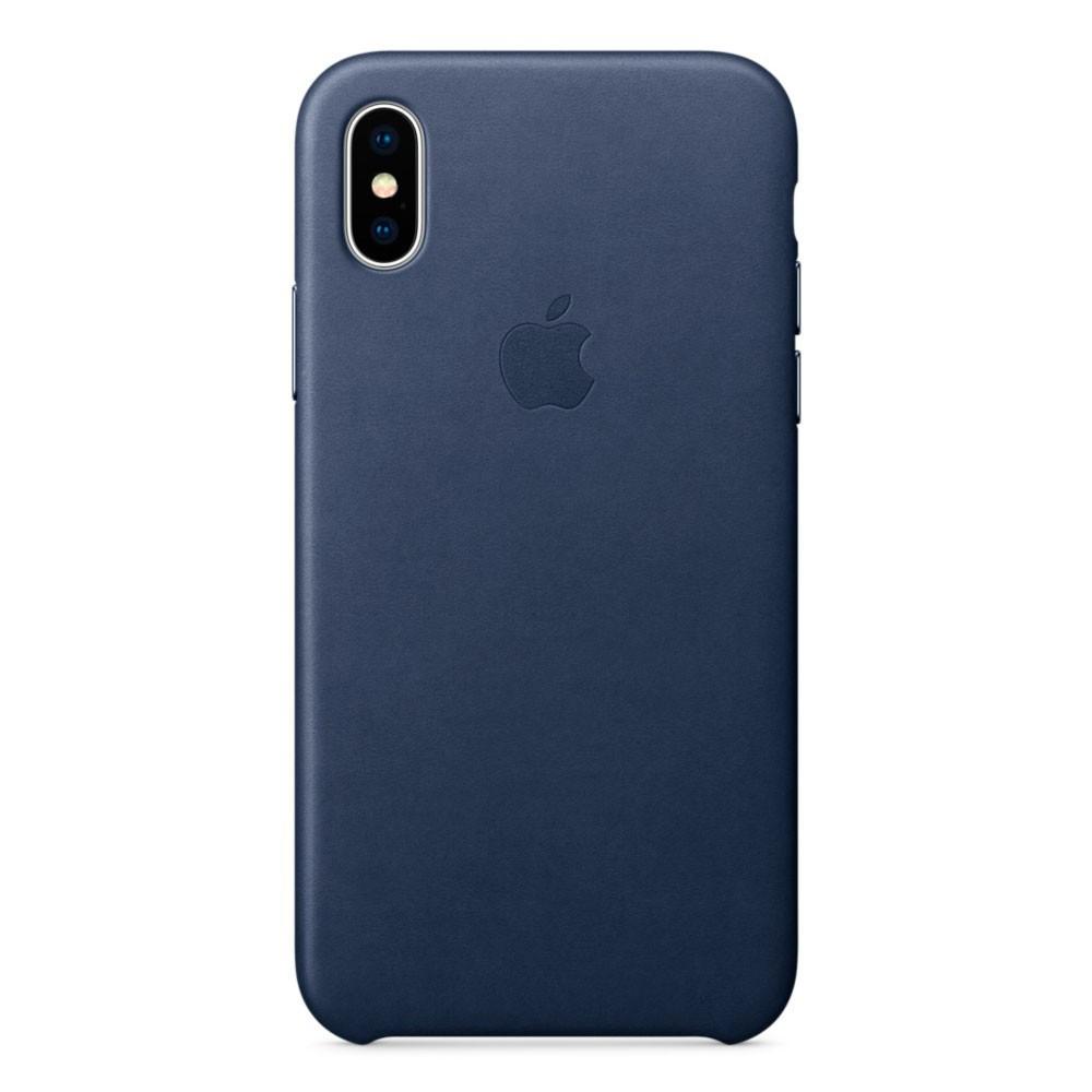 Кожаный чехол Apple Leather Case Midnight Blue  для iPhone Xs Max