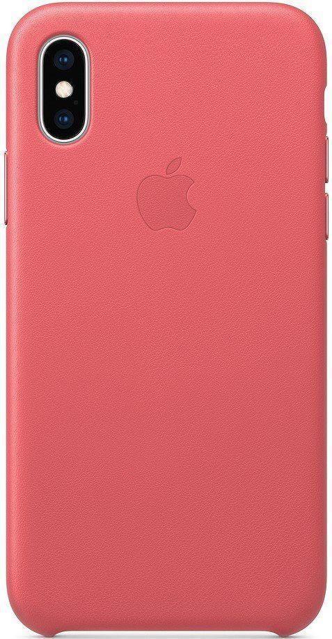 Кожаный чехол Apple Leather Case Peony Pink для iPhone Xs Max