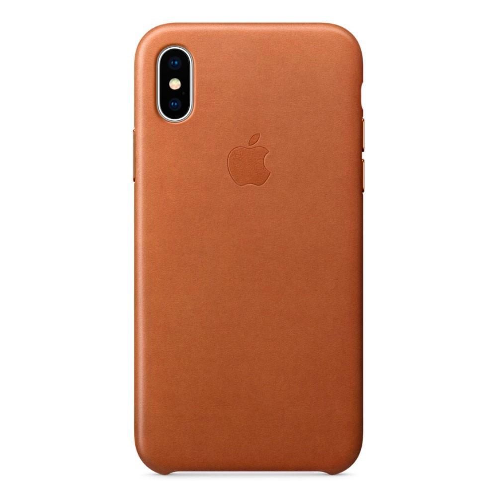 Кожаный чехол Apple Leather Case Saddle Brown  для iPhone Xs Max
