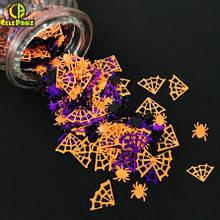 """Декор на Хеловін конфетті """"Павутина і павуки"""" - у наборі 15г, жорсткий конфетті"""