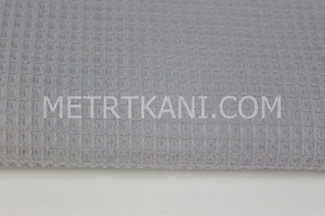Ткань вафельная серого цвета № ТФ-011