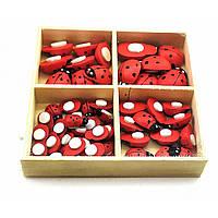 Божьи коровки наклейки деревянные (набор 56 шт) (коробка 9х9х1,5 см)