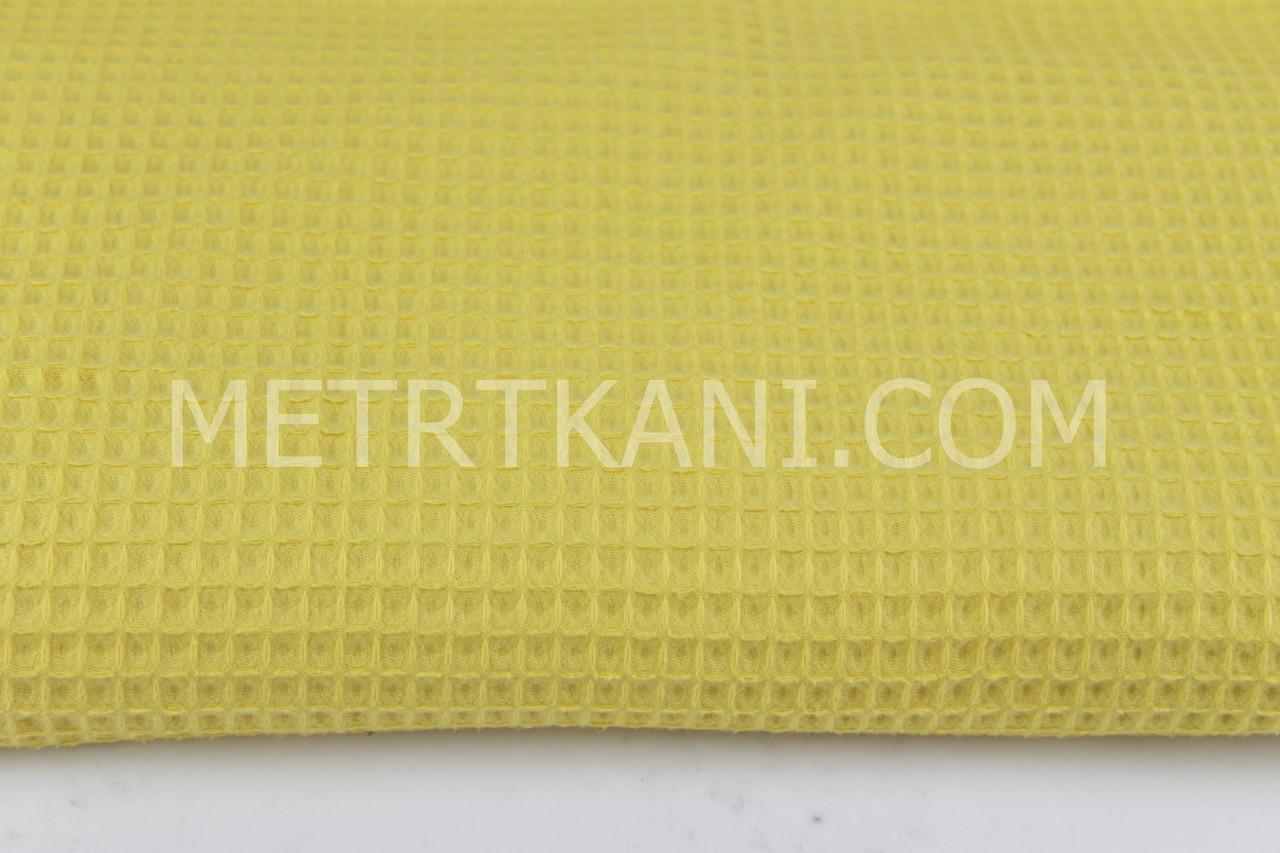 Ткань вафельная темно-желтого цвета № ТФ-012