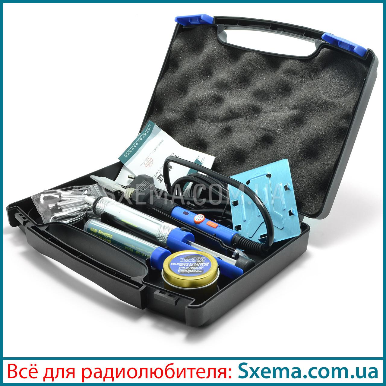Паяльник с регулировкой температуры WEP 947-III в кейсе с набором