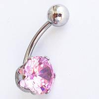 Для пирсинга пупка с розовым цирконом. Медицинская сталь., фото 1