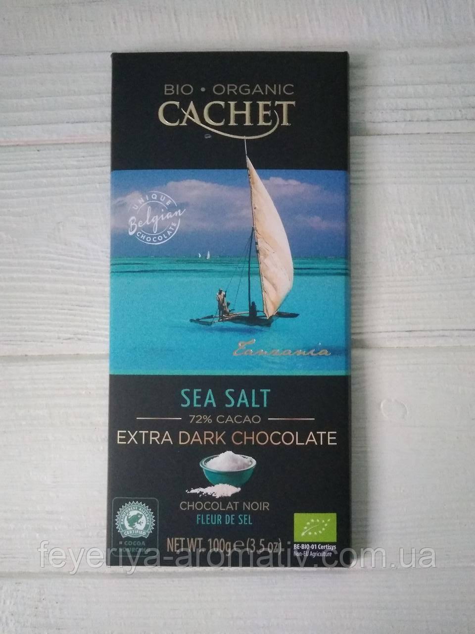 Черный шоколад Cachet bio organic, 100гр (Бельгия) черный шоколад 72% с солью