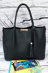Двухсторонняя женская сумка Willow 293 черная гладкая.