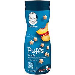 Первые печеньки для малышей Puffs от Gerber Персик