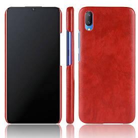 Чехол накладка для Vivo V11 с кожаной поверхностью, Premium Vintage, красный