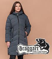 Braggart Youth 25015 | Женская зимняя куртка большого размера серо-зеленая, фото 1