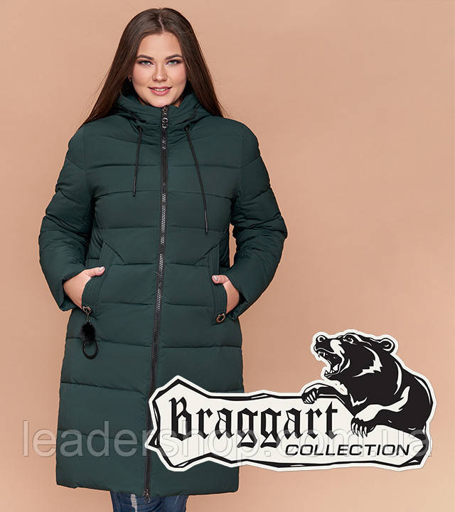 Braggart Youth - Куртка женская зимняя большого размера темно-зеленая (6)