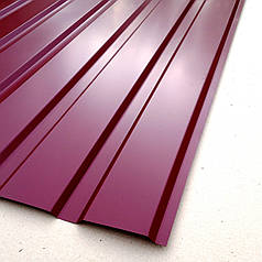 Профнастил  для забора, цвет:вишневый ПС-20, толщина 0,30 мм; высота 1.5 метра ширина 1,16 м