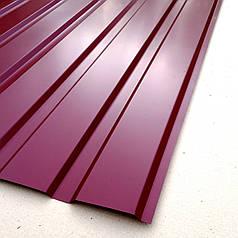Профнастил для забору, колір:вишневий ПС-20, товщина 0,30 мм; висота 1.5 метра ширина 1,16 м