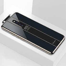 Чехол накладка для Vivo X27 Pro с поверхностью из закаленного стекла, Stylish Черный