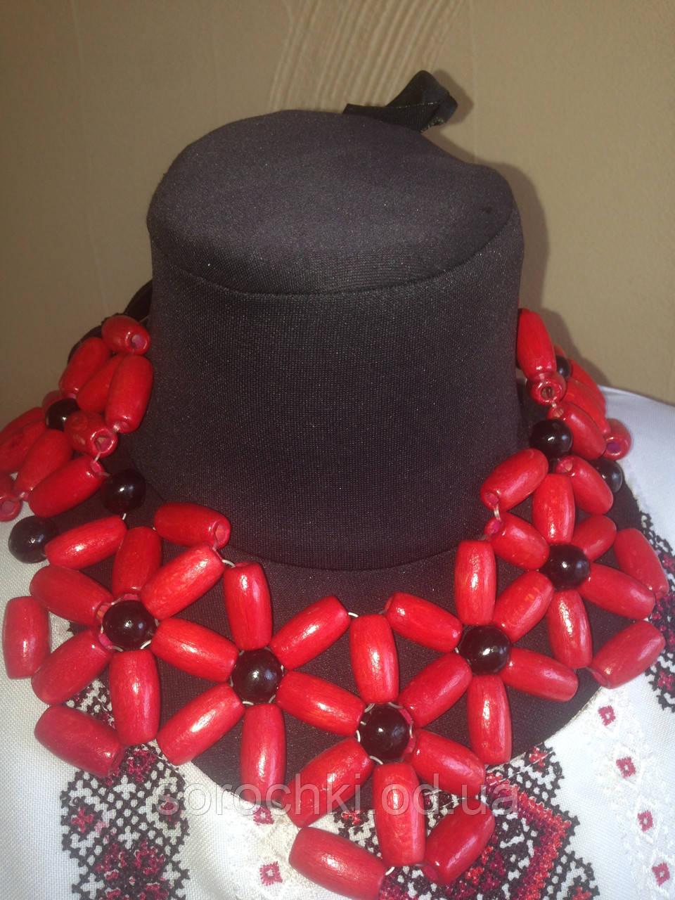 Ожерелье, женское, дерево, бук, ручная работа, шестилистник, красный , бежевый,
