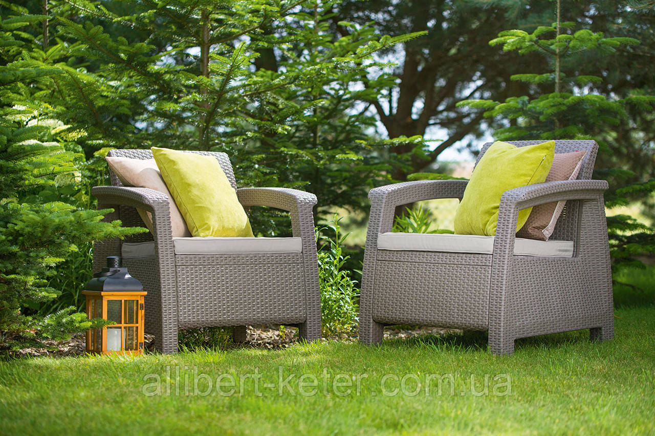 Набір садових меблів Corfu Duo Set Cappuccino ( капучіно ) з штучного ротанга ( Allibert by Keter )