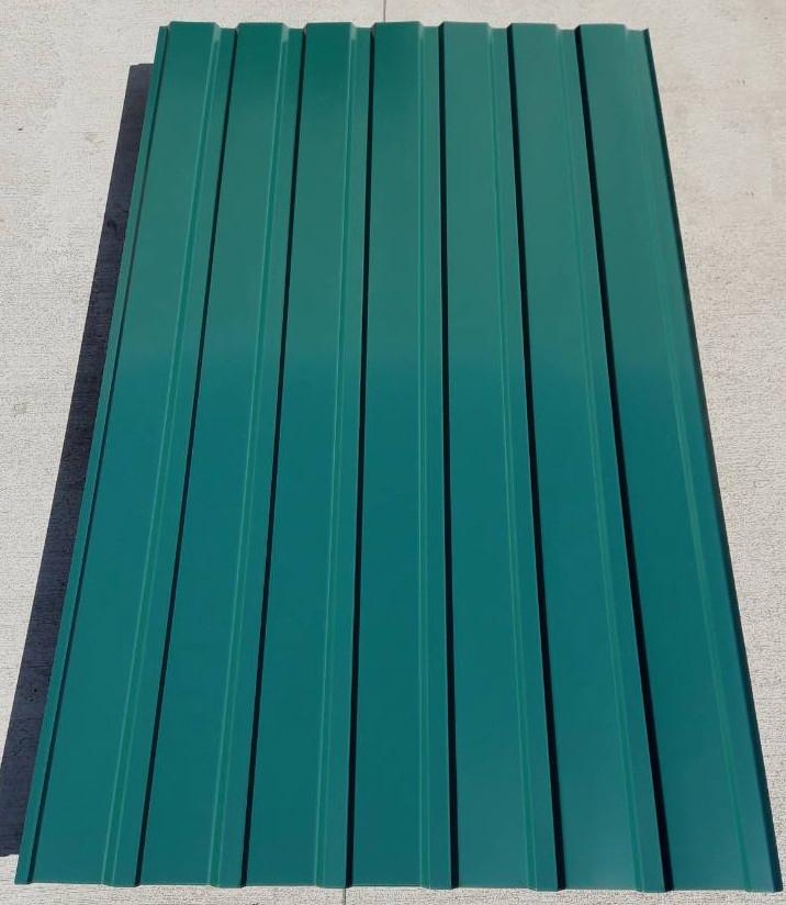 Профнастил для забору, колір:зелений ПС-20, товщина 0,45 мм; висота 1.5 метра ширина 1,16 м