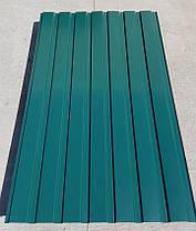 Профнастил для забору, колір:зелений ПС-20, товщина 0,45 мм; висота 1.5 метра ширина 1,16 м, фото 2