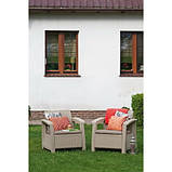 Набір садових меблів Corfu Duo Set Cappuccino ( капучіно ) з штучного ротанга ( Allibert by Keter ), фото 3