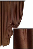 Портьерная ткань мультивельветовая класса люкс, цвет коричневый № 1395
