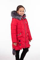 Детские зимние пальто для девочек подростков 34-40 красный
