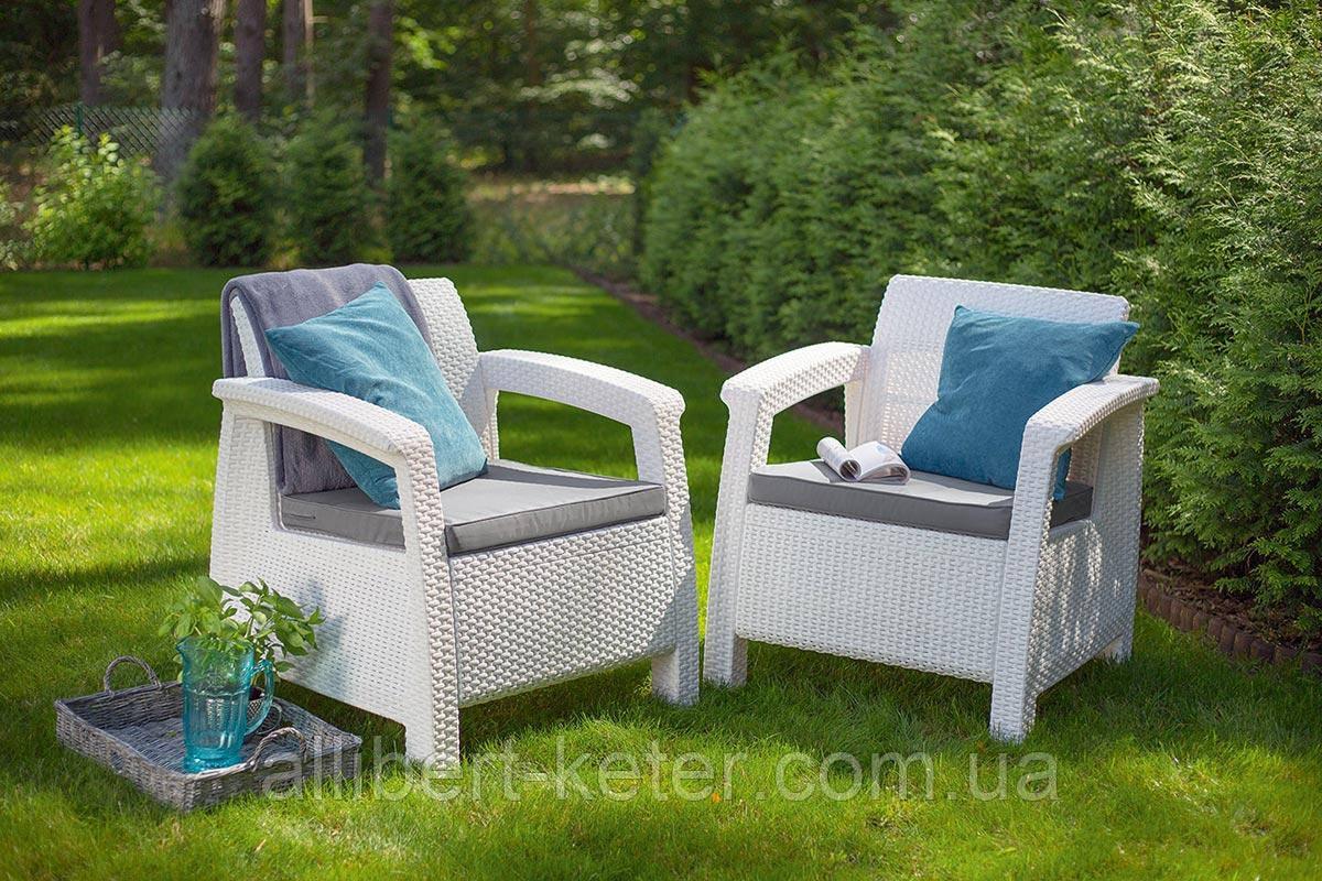 Набор садовой мебели Corfu Duo Set White ( белый ) из искусственного ротанга
