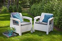 Набор садовой мебели Corfu Duo Set White ( белый ) из искусственного ротанга, фото 1