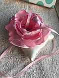 Свадебная подушка для колец с розовым цветком hand made, фото 4
