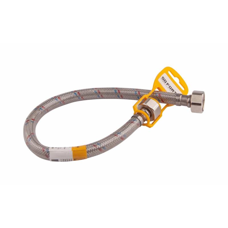 Шланг для подвода воды из резины с нержавеющей оплёткой 1/2 SD Forte ВВ 150 см